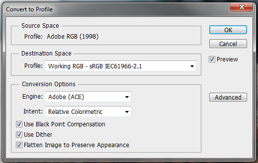 photoshop color space színtér profil színprofil srgb adobe 1998